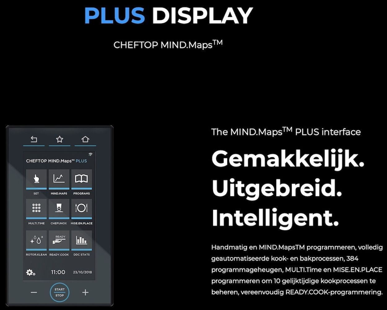 Unox ChefTop Plus Compact Touch Bediening